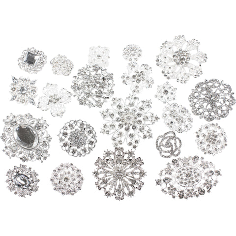 Mixed Pack Silver and Clear Rhinestones (10pcs/pkg) 711-S