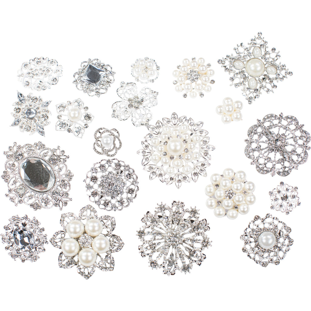 Mixed Pack Silver with Pearl and Clear Rhinestone (10pcs/pkg) 711-SP