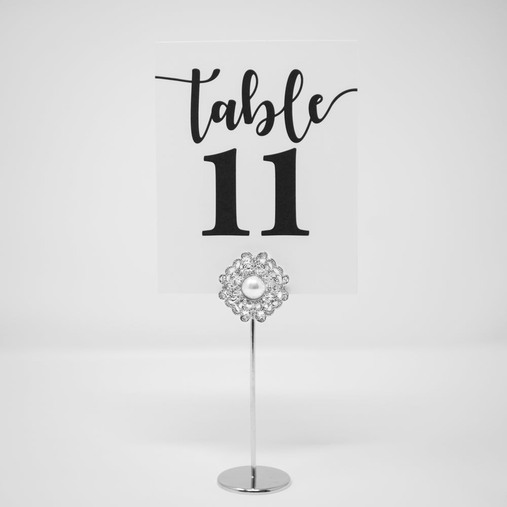 Silver Flower Rhinestone Table Number Stand