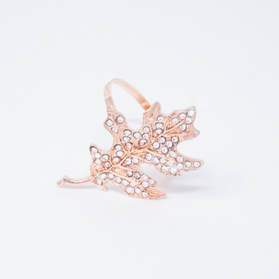 Rose Gold Leaf Rhinestone Napkin Ring
