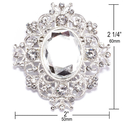 Crystal Brooches in Bulk with Measurements