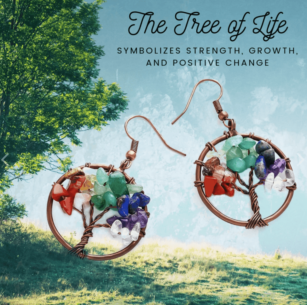 Natural Stone Tree of Life Earrings
