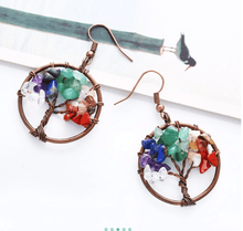 Load image into Gallery viewer, Natural Stone Tree of Life Earrings
