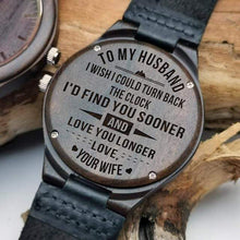 Load image into Gallery viewer, Engraved Wooden Watch For Husband