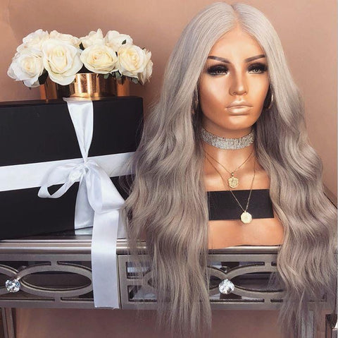 Platinum Series Long Wavy Gray Wig | Lamon Beauty