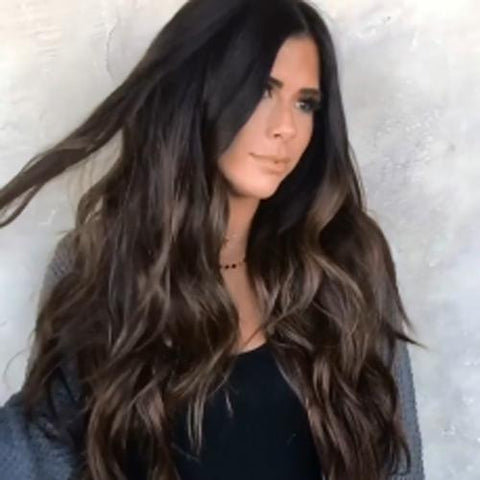 Lace Human Hair | Natural Long Wavy Wig | Brownish Black Brown Wig | Lamon Beauty