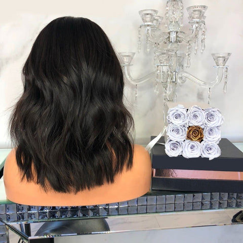 Kylie Dark Long Bob Bleached Knots Black Wig | Lamon Beauty