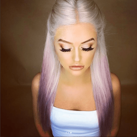 Beautiful Long Straight White and Pink Wig | Lamon Beauty