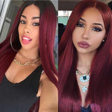 Natural Long Straight Curly Red Wine Wig | Lamon Beauty
