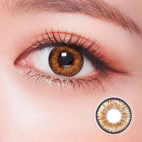 Be Daring Caramel Brown Color Contact Lenses | Lamon Beauty