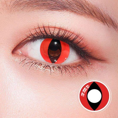Red Cat Eyes Cosplay Colored Contact Lenses | Lamon Beauty