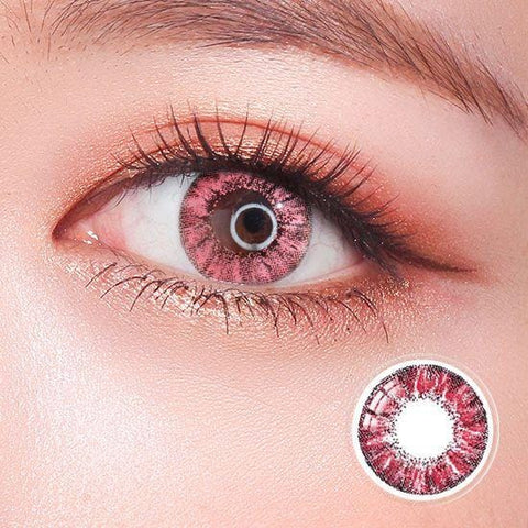 Super Crystal Glitter Pink Colored Contact Lenses | Lamon Beauty