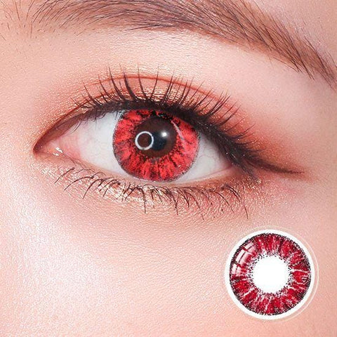 Super Crystal Glitter Red Colored Contact Lenses | Lamon Beauty