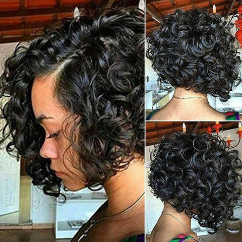 Short Curly African American Black Wigs for Black Women | Lamon Beauty