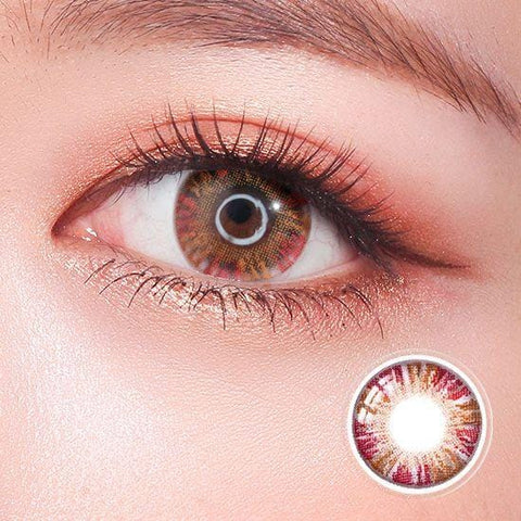 Rainbow Eyes Glitter Red Colored Contact Lenses | Lamon Beauty