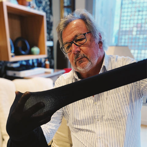 Bernard Saltiel Mentor of Billi London Doing the Quality Check of Coco Biodegradable Sustainable Tights