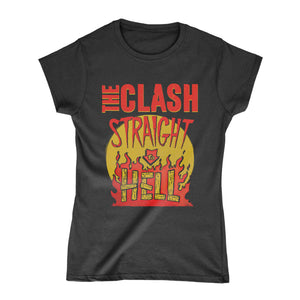 Straight To Hell Military Ladies Black T-Shirt