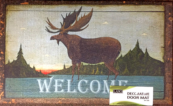 Folk Art Moose Welcome Mat - Country Cottage Gifts