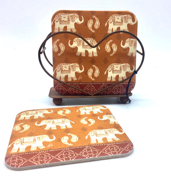 Boho Elephant Coaster Set (Rusty Heart)