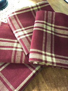 Burgundy Plaid Towel - Country Cottage Gifts