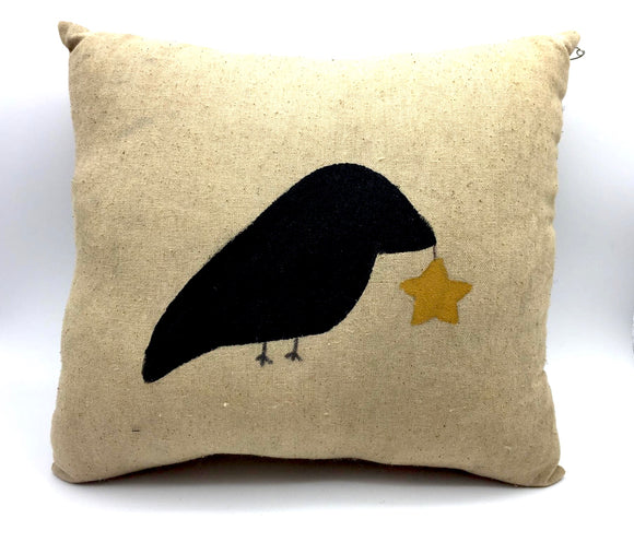 Primitive Crow & Star Pillow - Country Cottage Gifts