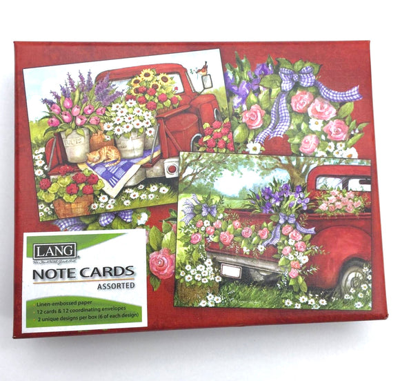Lang Red Truck Notecards - Country Cottage Gifts