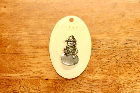 Danforth Pewter Snowman Brooch - Country Cottage Gifts