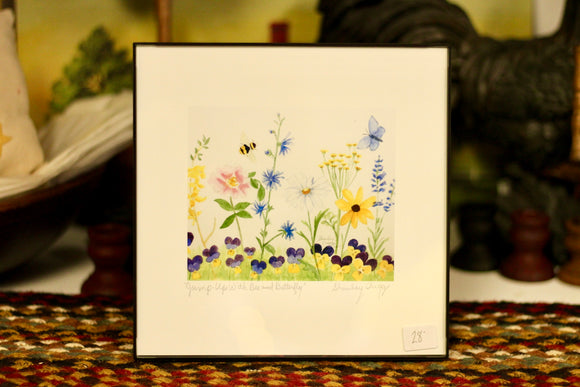 """Jump Ups With Bee and Butterfly"" Watercolor by Shanley Triggs - Country Cottage Gifts"