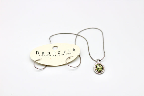 Danforth Pewter Ash Green Mountain Shake Charm Necklace - Country Cottage Gifts