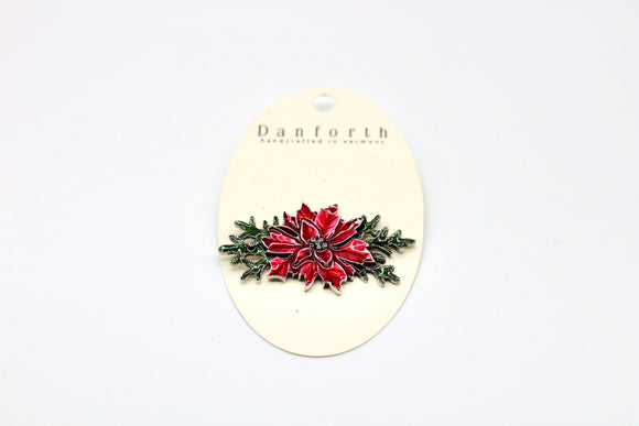 Danforth Pewter Poinsettia Brooch - Country Cottage Gifts