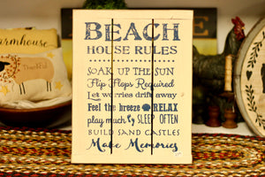 Beach House Rules Sign - Country Cottage Gifts