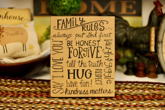 Family Rules Sign - Country Cottage Gifts