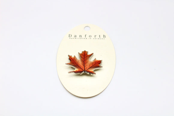Danforth Pewter Maple Leaf Autumn Brooch - Country Cottage Gifts