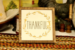 Thankful Square Sign - Country Cottage Gifts