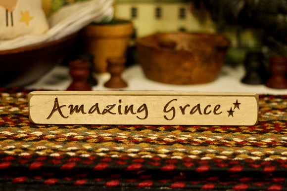 Amazing Grace Light Brown Sign - Country Cottage Gifts