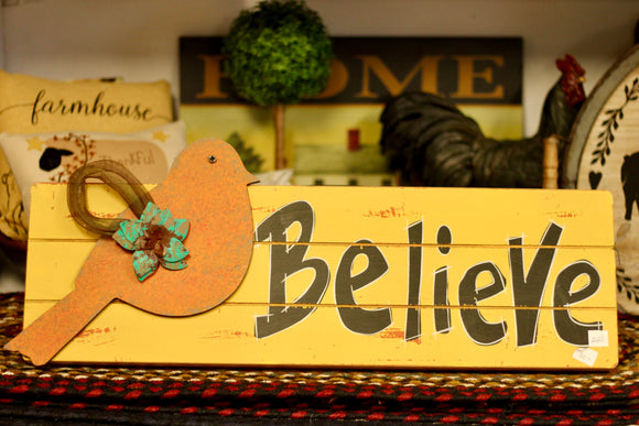 Yellow Believe With Bird Sign - Country Cottage Gifts