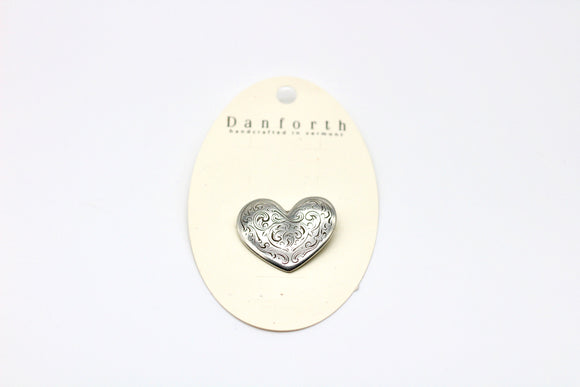 Danforth Pewter Florentine Heart Pin - Country Cottage Gifts