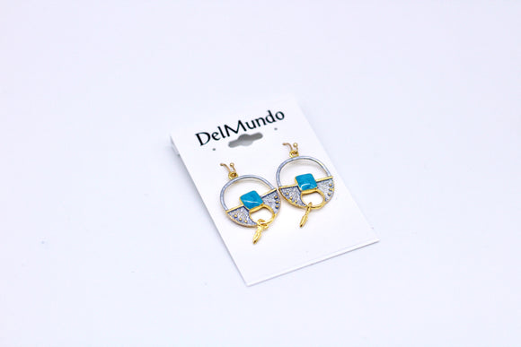 DelMundo Blue & Gold Earrings - Country Cottage Gifts