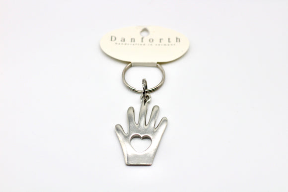 Danfort Pewter Heart In Hand Keyring - Country Cottage Gifts