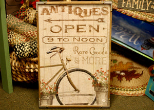 Antiques Open 9 To Noon Sign - Country Cottage Gifts
