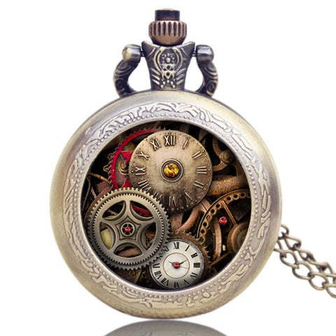 Montre à gousset quartz steampunk - Design antique