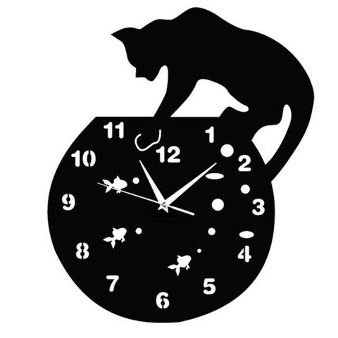 Horloge Mural animal - Chat sur le bocal | Quai des Horloges