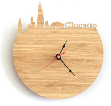 Horloge Murale Bois - Cities Chicago | Quai Des Horloges