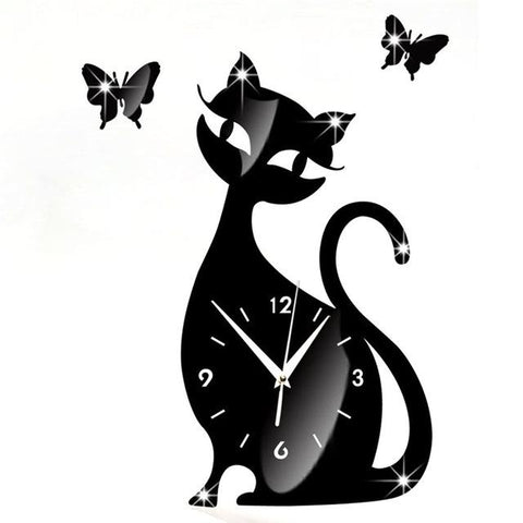 Horloge Murale Sticker - Chat Noir | Quai Des Horloges