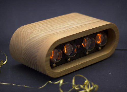 Horloge Nixie IN-1 en bois - 'Natural' Bois de frêne naturel