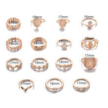 Load image into Gallery viewer, The Fatima 15pc Ring Set - Lota & Chain