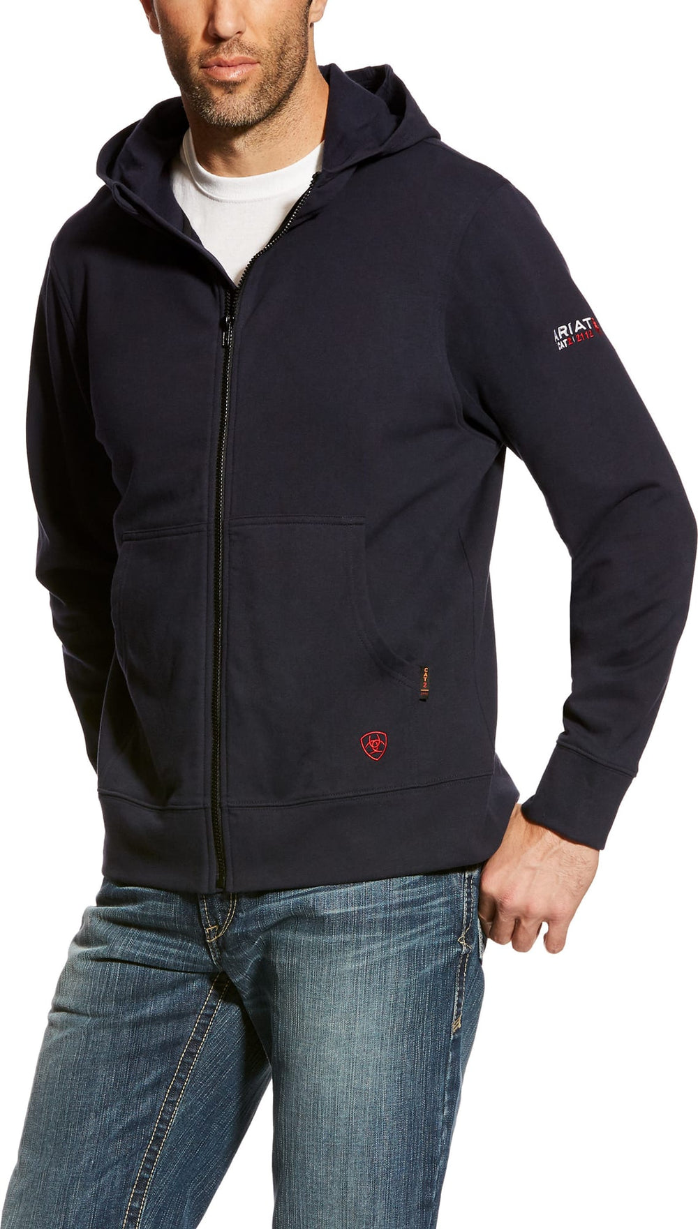 Ariat FR 10023979 Navy Durastretch Zip Up Hooded Sweatshirt