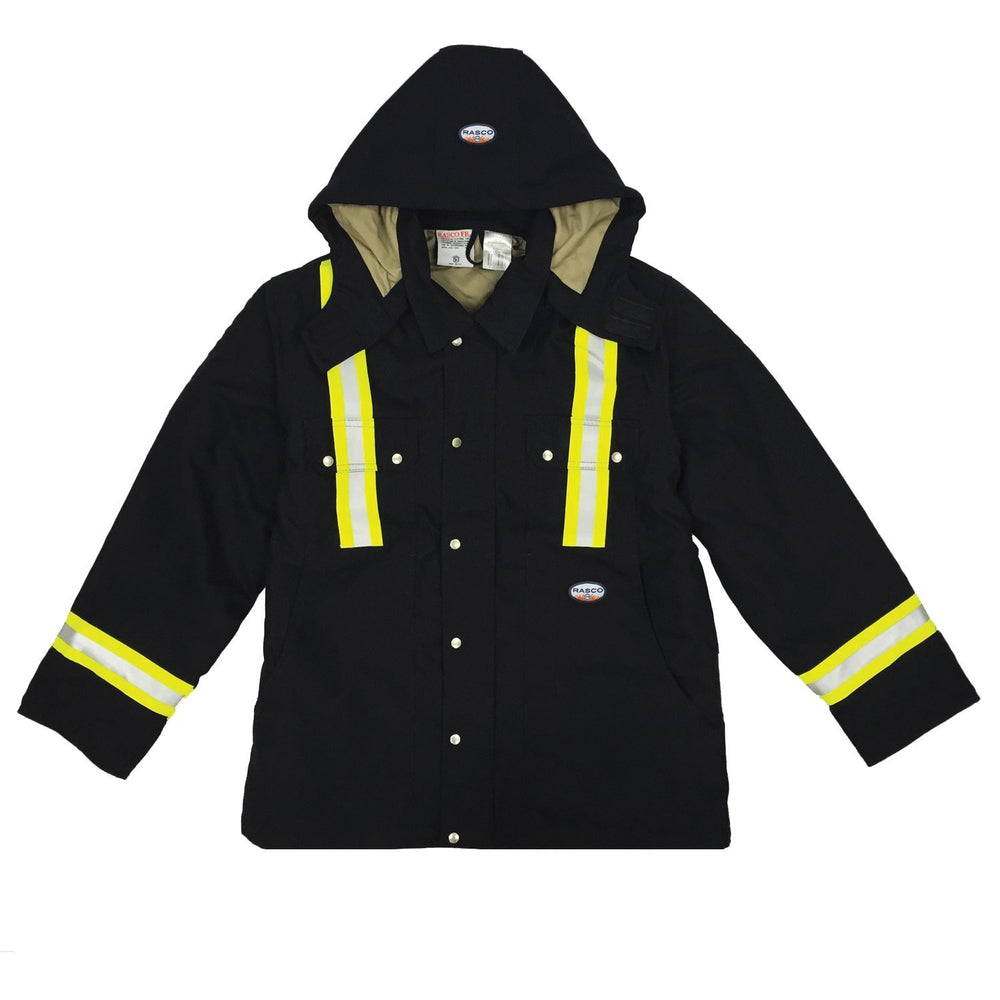 Flame Resistant Black Duck Heavy Coat W/Reflective Stripes - FR3807BK