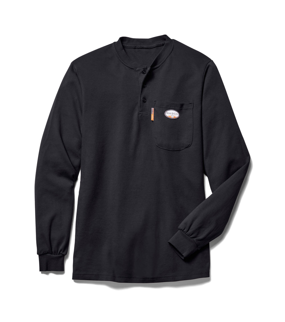 Flame Resistant Black Long Sleeve Henley T-Shirt - BTF457