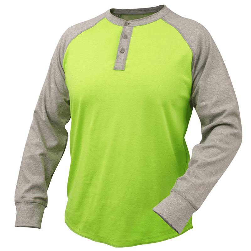Black Stallion 7 oz. Gray/Lime Flame Resistant Cotton Jersey Henley TF2520-GL